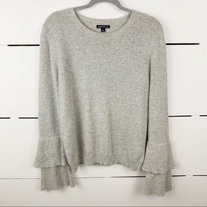 J. CREW MERCANTILE Ruffled Sleeve Crewneck Sweater